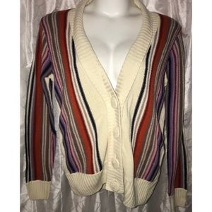 Striped sleeve chunky button cardigan